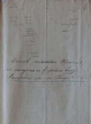 Список полонених українців, які перебували в маєтку князя Мещерського...