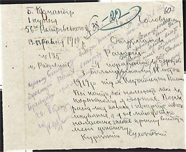 Рапорт командира 1-го куреню 56-го Немирівського [полку] Головному Отаману військ УНР з проханням про грошову допомогу для лікування після поранення. З резолюцією С. Петлюри. 12 травня 1919 р.
