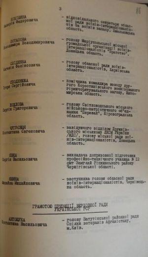 """Указ Президії Верховної Ради Української РСР """"Про нагородження колишніх воїнів-афганців"""