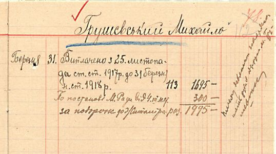 Відомість про виплату коштів М. Грушевському. 31 березня 1918 р.