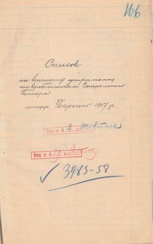 Список на виплату утримання співробітникам Генерального писаря. 2 жовтня 1917 р.