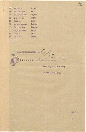 Список акторів і співробітників Народного театру Міністерства преси та інформації УНР. 2 серпня 1919 р.