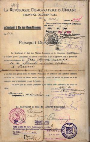 Дипломатичний паспорт УНР на ім'я І. Мирона. 14 листопада 1919 р.